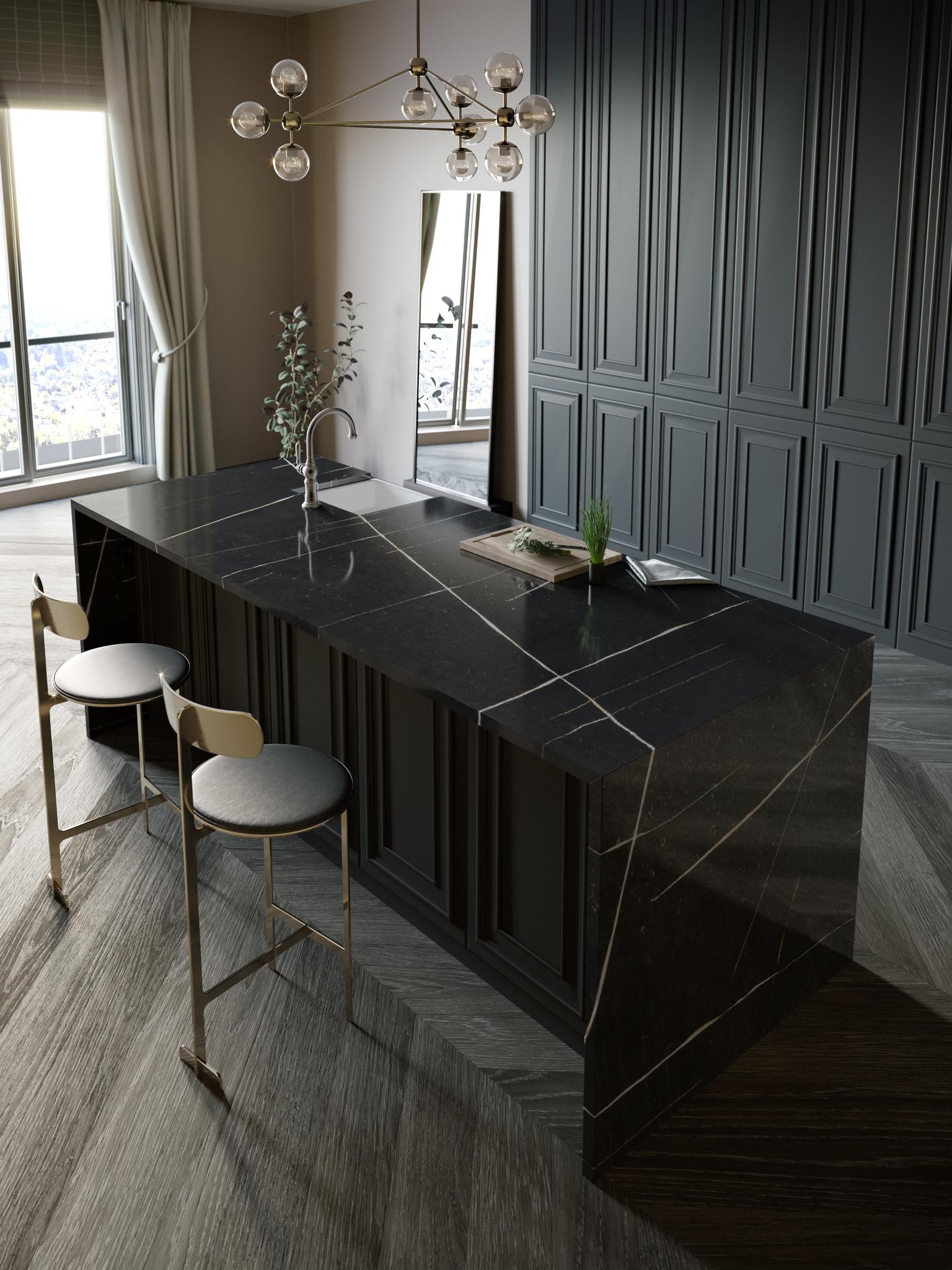 Küchenarbeitsplatten Insel mit Seitenverkleidung und Sitzplatz